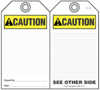 Caution Self-Laminating Peel and Stick Safety Tag (Ansi)