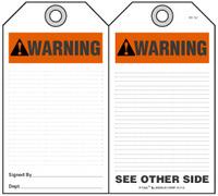 Warning Self-Laminating Peel and Stick Safety Tag (Ansi)