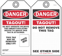 Danger Self-Laminating Peel and Stick Tag, Tagout