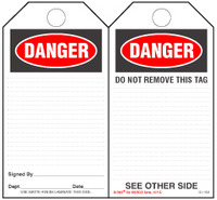 Danger Self-Laminating Safety Tag Kit