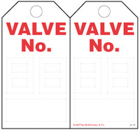 Valve Numbering Paper Tag