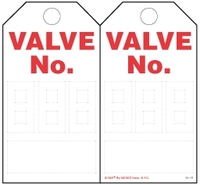 Valve Numbering (3 Digits) Paper Tag