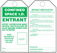 Confined Space I.D., Entrant Self-Laminating Tag Kit