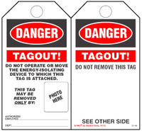 Danger, Tagout Self Laminating Tag Kit