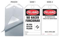 Peligro, No Hacer Funcionar, Mi Vida Esta A Riesgo Self-Laminating Tag Kit (Spanish)
