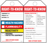 Right-To-Know (Health, Flammability And Reactivity) Paper Tag