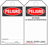 Paper Safety Tag - Peligro (Spanish)