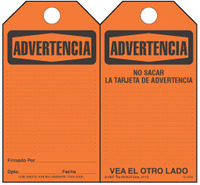 Advertencia (Spanish) Bilingual Paper Safety Tag