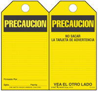 Precaution (Spanish) Bilingual Paper Safety Tag