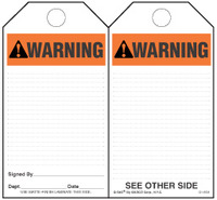 Warning (Ansi) Paper Tag