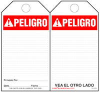 Peligro (Ansi, Spanish) Bilingual Paper Safety Tag