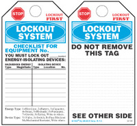 Lockout System Checklist Paper Tag