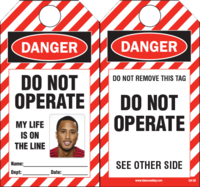DIY Photo ID Safety Tags, DO NOT OPERATE, MY LIFE IS ON THE LINE (20 Safety Tags per package)