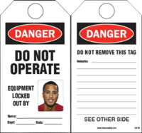 DIY Photo ID Safety Tags, DO NOT OPERATE, EQUIPMENT LOCKED OUT BY  (20 Safety Tags per package)
