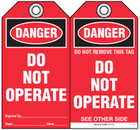 Lockout Safety Tag - Danger, Do Not Operate (Red)