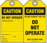 Safety Tag - Caution, Do Not Operate