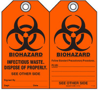Safety Tag - Biohazard, Infectious Waste, Dispose Of Properly