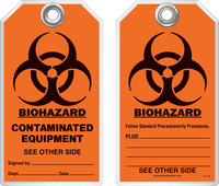 Safety Tag - Biohazard, Contaminated Equipment