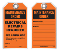 Maintenance Safety Tag – Electrical Repairs Required