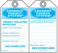 Lockout Safety Tag - Lockout Tagout System, Energy Isolation Device No.