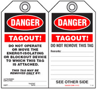Lockout Safety Tag - Danger, Tagout! Do Not Operate Or Move This The Energy-Isolating Or Blockout Devices
