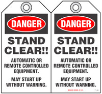 Safety Tag - Danger, Stand Clear!!, Automatic Or Remote Controlled Equipment