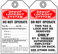 Lockout Safety Tag - Group Lockout System, Do Not Operate