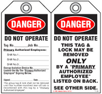 Lockout Safety Tag - Danger, Do Not Operate (With Authorization)