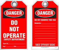 Lockout Safety Tag - Danger, Do Not Operate, Safety Department (Red Background)