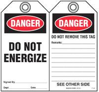 Safety Tag - Danger, Do Not Energize