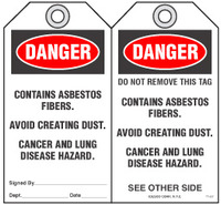 Safety Tag - Danger, Contains Asbestos Fibers, Avoid Creating Dust