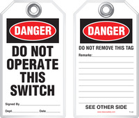 Lockout Safety Tag - Danger, Do Not Operate This Switch
