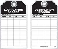 Maintenance Safety Tag - Lubrication Record