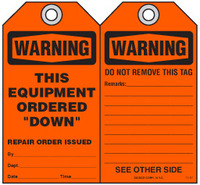 Maintenance Safety Tag - Warning, This Equipment Ordered
