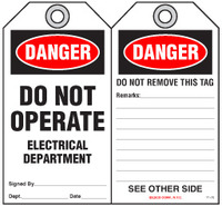 Lockout Safety Tag - Danger, Do Not Operate, Electrical Department