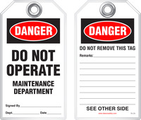 Lockout Safety Tag - Danger, Do Not Operate, Maintenance Department
