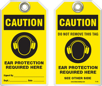 Warning Tag - Caution, Ear Protection Required Here