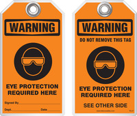 Warning Tag - Warning, Eye Protection Required Here