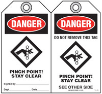 Safety Tag - Danger, Pinch Point! Stay Clear