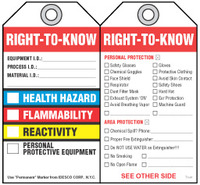 Safety Tag - Right-To-Know  (Nfpa - Check Boxes)