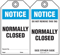 Safety Tag - Notice, Normally Closed