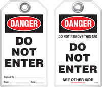 Safety Tag - Danger, Do Not Enter