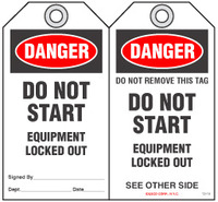 Lockout Safety Tag - Danger, Do Not Start, Equipment Locked Out