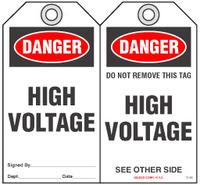Safety Tag - Danger, High Voltage