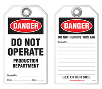Lockout Safety Tag - Danger, Do Operate, Production Department