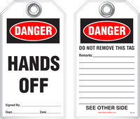 Safety Tag - Danger, Hands Off