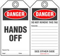 Safety Tag - Danger, Hands Off