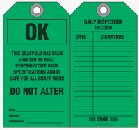 Maintenance Safety Tag - Scaffold is OK