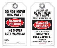 Bilingual Safety Tag - Danger, Peligro, Do Not Move This Valve, No Mover Esta Valvula (English/Spanish)