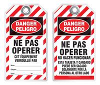 Bilingual Safety Tag - Danger, Ne Pas Operer, Cet, Equipement Verrouille Par (French)